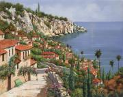 Red Flowers Art - La Costa by Guido Borelli