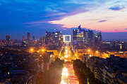 Offices Art - La Defense and Champs Elysees at sunset in Paris France by Michal Bednarek