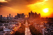 Champs Elysees Framed Prints - La Defense and Champs Elysees at sunset Framed Print by Michal Bednarek