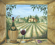 Red Wine Bottle Painting Posters - La Dolce Vita Poster by Marilyn Dunlap