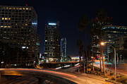 Lights Digital Art Originals - LA Down Town 2 by Gandz Photography