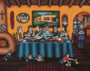 Dinner Painting Metal Prints - La Familia or The Family Metal Print by Victoria De Almeida