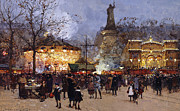 City Streets Drawings Prints - La Fete Place de la Republique Paris Print by Eugene Galien-Laloue