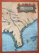 Cartography Painting Originals - La Florida  by Deborah  Reid
