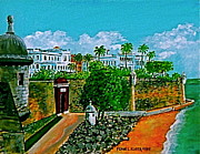 Puerto Rico Paintings - La Fortaleza San Juan Puerto Rico by Frank Hunter