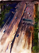 Los Angeles Mixed Media Metal Prints - LA Freeway Metal Print by Russell Pierce