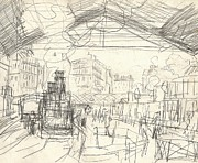 Pencil Sketch Drawings - La Gare Saint Lazare by Claude Monet