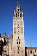 Old Structure Framed Prints - La Giralda Bell Tower in Seville Framed Print by Artur Bogacki