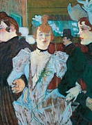 Rouge Posters - La Goulue arriving at Moulin Rouge with two women Poster by Henri de Toulouse Lautrec