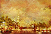 Notre Dame Cathedral Prints - La Grand Place Brussels Print by Catf