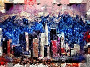 Towns Digital Art - LA Grunge Skyline by Daniel Janda