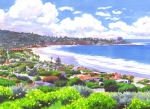 Surfing Paintings - La Jolla California by Mary Helmreich