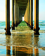 Christine Krainock Prints Framed Prints - La Jolla California Ocean Pier Framed Print by Christine Krainock