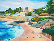 Scenic Drive Painting Posters - La Jolla Cove in San Diego - Original Painting in standard profile Poster by Louisa Bryant