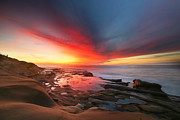 California Surf Prints - La Jolla Reef Sunset 13 Print by Larry Marshall