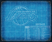 Nba Playoffs Prints - LA Lakers Blueprint Print by Joe Myeress