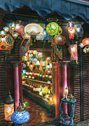 Oil Lamp Paintings - La Lamparareia en la Noche Albacin Granada by Richard Harpum