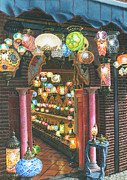 Oil Lamp Paintings - La Lampareria Albacin Granada by Richard Harpum