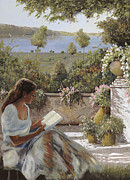 Lake Framed Prints - La Lettura Allombra Framed Print by Guido Borelli