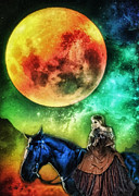 Horse Digital Art Prints - La Luna Print by Mo T