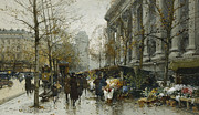 City Scene Drawings Prints - La Madelaine Paris Print by Eugene Galien-Laloue