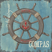 Nautical Painting Prints - La Mer Compas Print by Debbie DeWitt
