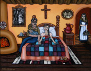 Mexican Artists Framed Prints - La Partera or The Midwife Framed Print by Victoria De Almeida