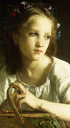 Half Length Paintings - La Petite Ophelie by William Adolphe Bouguereau
