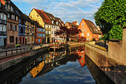 Alsace Framed Prints - La Petite Venice Reflections in Colmar France Framed Print by Greg Matchick