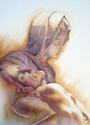 Watercolor  Drawings Posters - LA PIETA By Michelangelo Poster by Juan Jose Espinoza