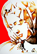 Michelangelo Mixed Media Prints - La Pieta Face Print by Juan Jose Espinoza
