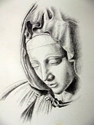 God Drawings - La Pieta Madonna by Heather Calderon