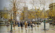 Paris Digital Art Prints - La Place du chatelet Print by Eugene Galien Laloue