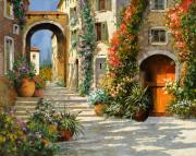Old Light Framed Prints - La Porta Rossa Sulla Salita Framed Print by Guido Borelli