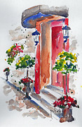 Streetscape Paintings - La Porte Rouge - Vieux Quebec by Pat Katz