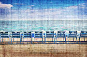 Blue Chairs Posters - La promenade des anglais Poster by Delphimages Photo Creations