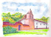 Watercolor Landscapes Posters - La Purisima Mission in Lampoc - California Poster by Carlos G Groppa