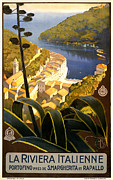 Portofino Italy Town Art Prints - La Riviera Italienne Print by Nomad Art And  Design