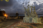 Old San Juan Framed Prints - La Rogativa Plaza at Night Framed Print by George Oze