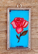 Card Jewelry Metal Prints - La Rosa Metal Print by Victoria Montgomery