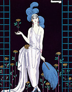 Ostrich Fan Paintings - La Roseraie fashion design for an evening dress by the House of Worth by Georges Barbier