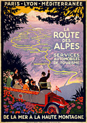 Lyons Prints - La Route des Alpes Print by Nomad Art And  Design
