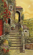 Stairs Painting Prints - La Scala Grande Print by Guido Borelli