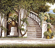 White Painting Metal Prints - La Scalinata Metal Print by Guido Borelli