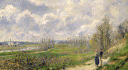 Standard Paintings - La Sente du Chou near Pontoise by Camille Pissarro