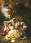 Red Dress Posters - La Siesta Poster by Franz Xavier Winterhalter