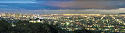 Skyline Prints - L.A. Skyline Cityscape Night Dusk Wide Panorama los Angeles CA Cityscape Night Dusk lit Print by David  Zanzinger