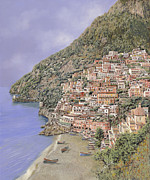 Naples Framed Prints - la spiaggia di Positano Framed Print by Guido Borelli