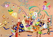 Toys Pastels - La STaNZa Dei GioCaTToLi - Children Illustration Wallpaper by Arte Venezia