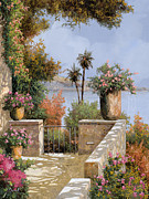Terrace Framed Prints - La Terrazza Un Vaso Due Palme Framed Print by Guido Borelli